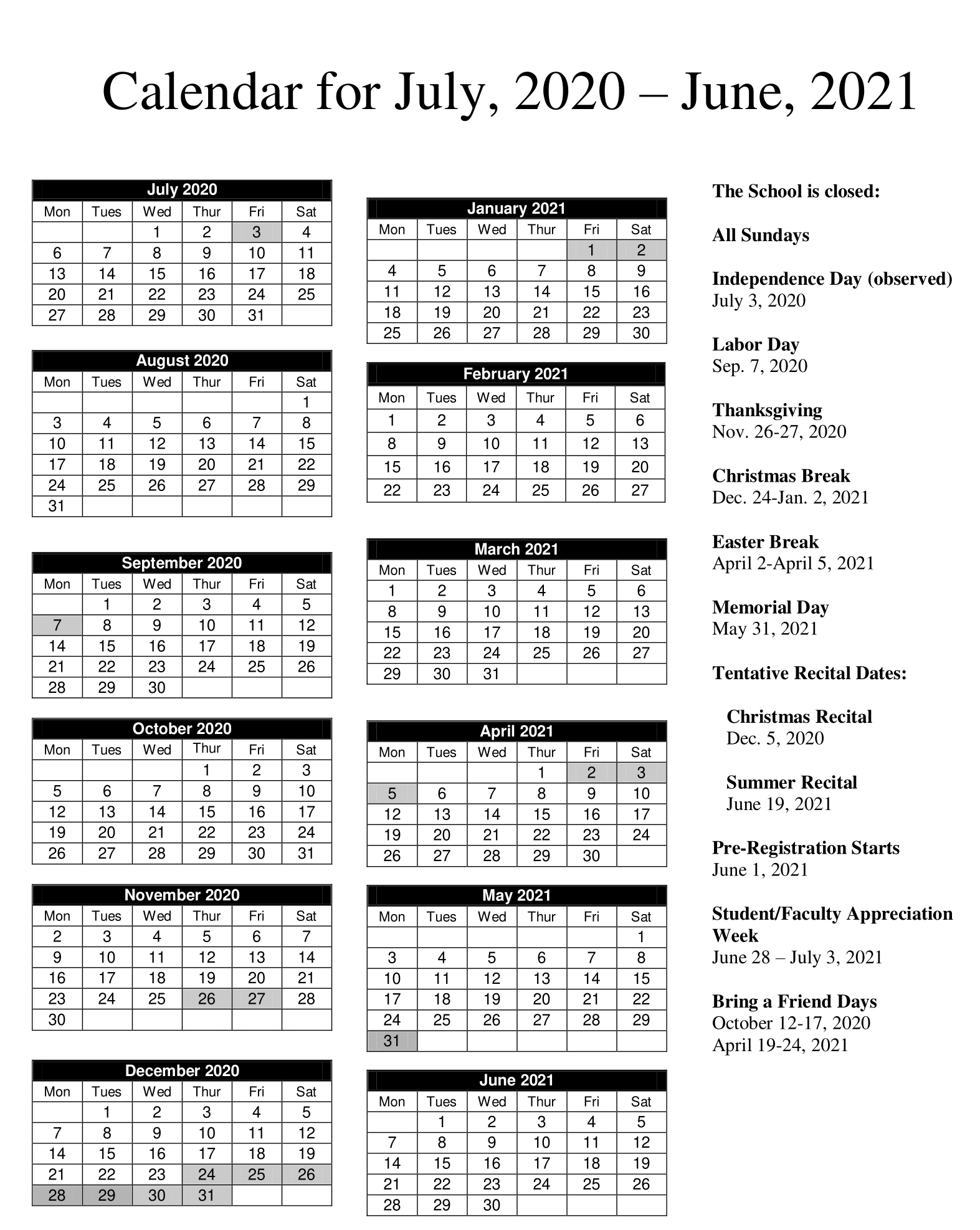 Calendar - MUSIC LESSONS - Piano, Guitar, Violin ...